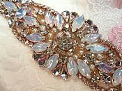 "Rose Gold Setting Crystal Rhinestone Applique w/ Pearls and White Jelly Accent Stones 5.25"" (MS123)"