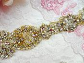 "Bridal Sash Applique w/ Gold Setting and Beads Multiple Crystal Rhinestones w/ Pearls 16.5"" (MS139)"