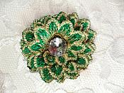 "3D Embroidered Rhinestone Applique Green Floral 2"" (MS145)"