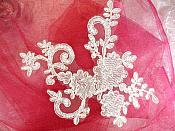 "Venise Lace Embroidered White Floral Venice Motifs 8"" (MS149)"