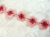 """Pink Embroidered Flower Applique 8"""" (MS155)"""
