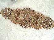 "Only One! Bridal Applique Rose Gold Rhinestones 6"" (MS157)"