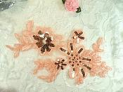 """Peachy Pink Embroidered Venice Lace Floral Venise Sequin Appliques 7.5"""" (MS158)"""