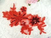 "Red Embroidered Venice Lace Floral Venise Sequin Appliques 7.5"" (MS159)"