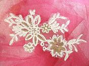 "White Embroidered Venice Lace Floral Venise Sequin Appliques 7.5"" (MS162)"