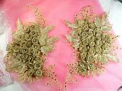 3D Appliques Rhinestone Floral Cluster Mirror Pair Metallic Olive Gold (MS175X)