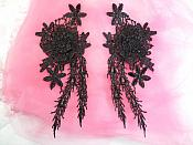 "Embroidered Venise Lace Black Floral Venice Mirror Pair Motifs 9"" (MS176X)"