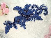 """Blue Embroidered Venice Lace Floral Venise Sequin Appliques 9.5"""" (MS180)"""