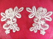 "White Floral Venise Lace Mirror Pair Appliques 4"" (MS181X)"