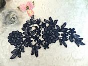 "Venise Lace Embroidered Navy Floral Venice Lace Applique 10.25"" (MS183)"