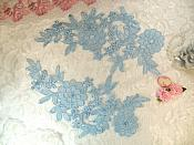 "Venise Lace Embroidered Light Blue Floral Venice Mirror Pair Motifs 10.25"" (MS185X)"