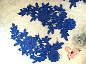 "Venise Lace Embroidered Blue Floral Venice Mirror Pair Motifs 10.25"" (MS187X)"