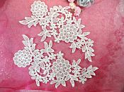 """(REDUCED) Venise Lace Embroidered Off White Floral Venice Mirror Pair Motifs 10.25"""" (RMDH121X)"""