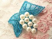 """Beaded Applique Turquoise and White Vine Pearl Cluster 2.5"""" (MS202)"""