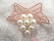 """Beaded Applique Mauve and White Vine Pearl Cluster 2.5"""" (MS202)"""