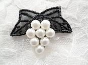 """Beaded Applique Black and White Vine Pearl Cluster 2.5"""" (MS202)"""
