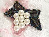 """Beaded Applique Black AB and White Vine Pearl Cluster 2.5"""" (MS202)"""