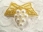 """Beaded Applique Gold and White Vine Pearl Cluster 2.5"""" (MS202)"""
