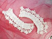"White Floral Collar Mirror Pair Appliques 8.5"" (MS205X)"