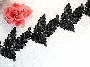 "Embroidered Lace Black Leaf Design Trim 4"" (MS208)"