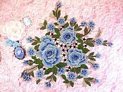 "Embroidered Floral 3D Applique Blue Rose Patch Craft Motif 14"" (MS213)"
