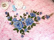 "Embroidered Floral 3D Applique Blue Rose Patch Craft Motif 13.75"" (MS214)"