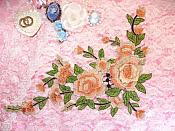 "Embroidered Floral 3D Applique Light Peach Rose Patch Craft Motif 13.75"" (MS216)"