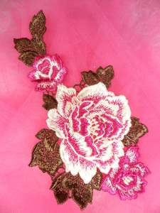 MS79 Fuchsia Brown Flower Embroidered Applique Patch 6""