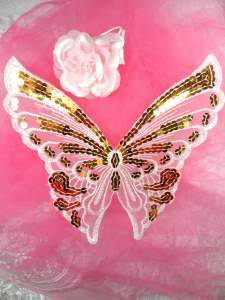 MS83 White Silver Holographic Embroidered Butterfly Sequin Applique 7.75""