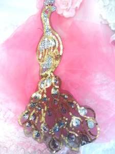 """MS99 Black Silver Gold Venise Lace Peacock Sequin Applique 16.5"""""""