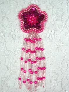 "MA42 Fuchsia Sequin Beaded Dangle Hair Bow / Brooch / Earrings / Applique 4.25"""