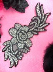 "N1 Black Backing Black Beaded Crystal Rhinestone Applique Flower 8.5"""
