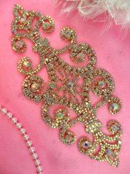 "N10 Rhinestone Applique Crystal AB Bridal Sash Metal Back Embellishment 8"""