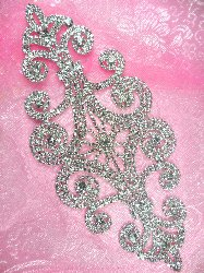 N10 Bridal Crystal Rhinestone Sash Applique Metal Back Embellishment 8""