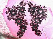 "Venise Lace Appliques Large Mirror Pair Black Flowers 12"" (N100X-bk)"