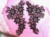 """Venise Lace Appliques Large Mirror Pair Black Flowers 12"""" (N100X-bk)"""