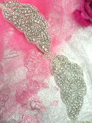 "N11 Silver Beaded Crystal Clear Rhinestone Leaf Vine Trim Leaves 2"""