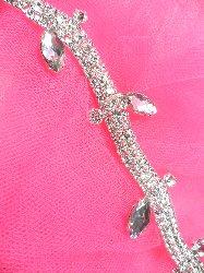 """N12 Silver Crystal Clear Rhinestone Glass Flowing Leaf Vine Trim 3/4"""""""