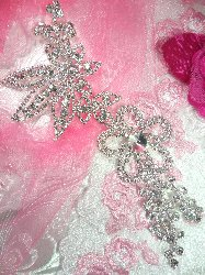 "N13 Bridal Flower Crystal Rhinestone Sash Applique Metal Back Floral Embellishment 7.5"""