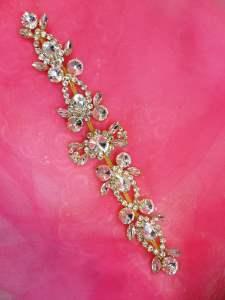 """N14 Gold Crystal Clear Rhinestone Applique Embellishment 10"""""""