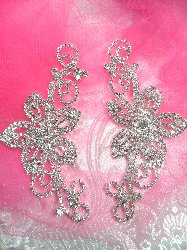 "N18 Mirror Pair Flower Crystal Rhinestone Appliques Metal Back Floral Embellishments Set 5"""