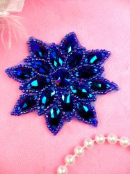 N19 Rhinestone Applique Blue Aurora Borealis Glass Snowflake Floral Beaded Patch 2.75""