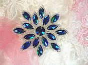 "Glass Snowflake Applique Blue Green Silver Beaded Patch Iron On 2.75"" (N19)"
