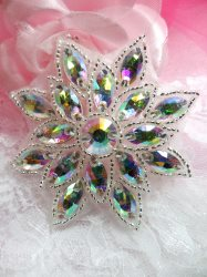 N19 Aurora Borealis Glass Rhinestone Applique Snowflake Floral Beaded Patch 2.75""