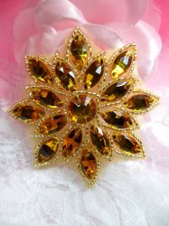 N19 Gold Glass Rhinestone Applique Snowflake Floral Beaded Patch 2.75""