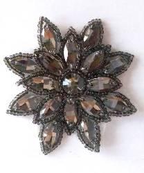 "N19 Gunmetal Rhinestone Applique Jewel Snowflake Patch  3"""