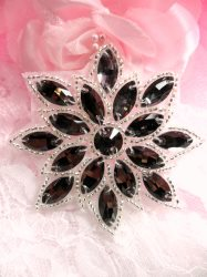 N19 Gunmetal Glass Rhinestone Applique Snowflake Floral Silver Beaded Patch 2.75""