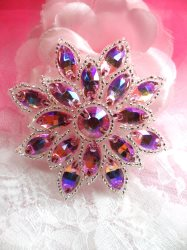 N19 Pink AB Glass Rhinestone Applique Snowflake Floral Beaded Patch 2.75""