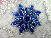 "Glass Snowflake Applique Aurora Borealis Saphire Blue Silver Beaded Patch Iron On 2.75"" (N19)"