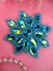 N19 Rhinestone Applique Turquoise Aurora Borealis Glass Snowflake Floral Beaded Patch 2.75""